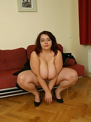 Hot BBW spits gallons of jizz onto her world class sized knockers!