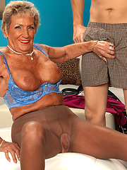 Blond granny in pantyhose