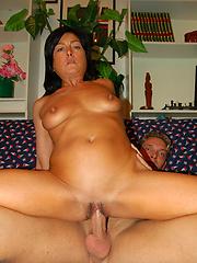 Hot brunette mom sucking and fucking