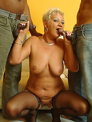 Horny 60 year old granny gets DPed by enormous black cocks!