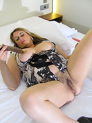 Chubby housewife playing with her toys