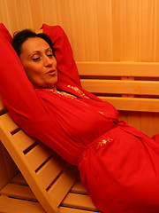 Group of moms relaxing in the sauna