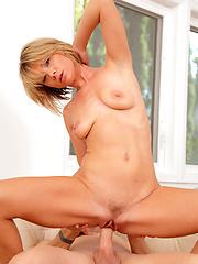 Golden blonde hair mature sucking and riding