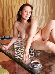 Alone mature enjoy herself with favourite glass toy