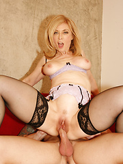Sexy mom Nina Hartley riding lucky guy