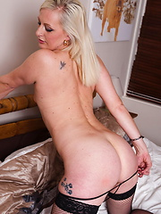 shaven mature pussy is very wet
