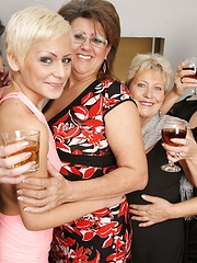 Hot lesbian party with old and young women