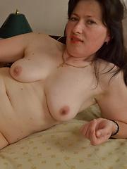 Horny hairy housewife masturbating