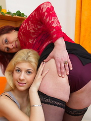 Huge breasted housewife playing with her younger lesbian lover