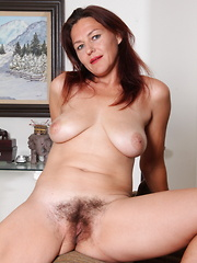 Hairy American housewife getting wet and wild