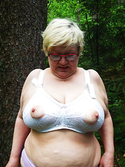 Busty mature whores flashing in a forest side