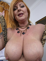 Big breasted chubby housewife playing alone