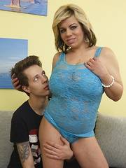 Big breasted housewife doing her younger lover