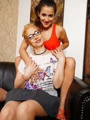 This hot babe seduces a naughty mature lesbian