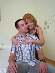Hairy mature lady doing her toy boy